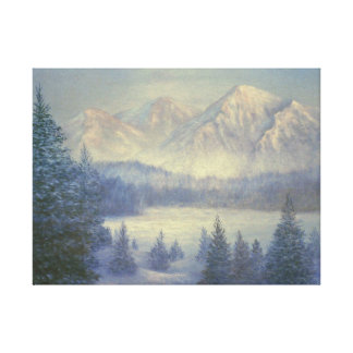 Snowy Mountains, oil painting Stretched Canvas Print