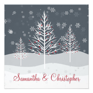 Snowy Night and Winter Trees Wedding Personalized Invites