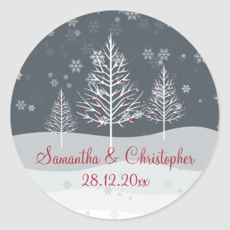 Snowy Night and Winter Trees Wedding Round Sticker