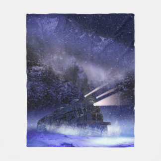 Snowy Night Train Fleece Blanket
