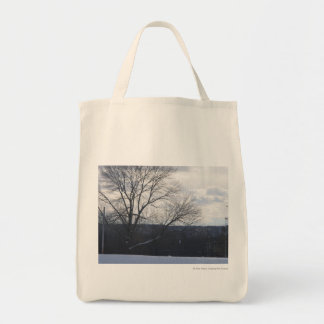 Snowy overlook grocery tote bag