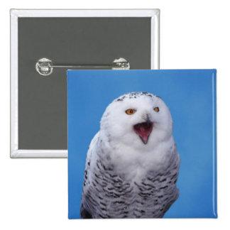 snowy owl 15 cm square badge