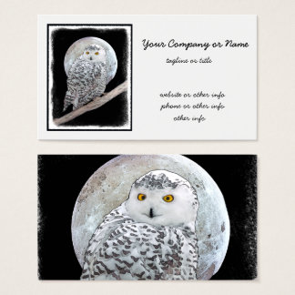 Snowy Owl and Moon Business Card