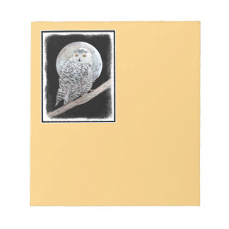 Snowy Owl and Moon Notepad