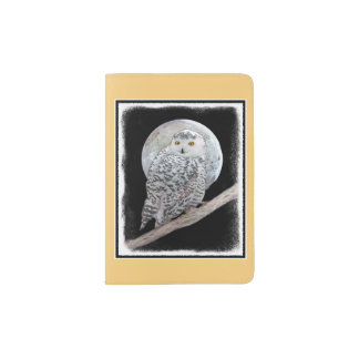 Snowy Owl and Moon Passport Holder