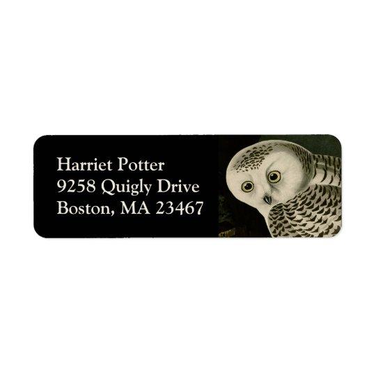 Snowy Owl - Audubon Fine Vintage Birds America Return Address Label