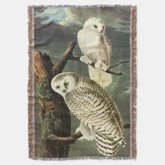 Snowy Owl - Audubon Fine Vintage Birds America Throw Blanket