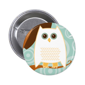Snowy Owl Blue Button