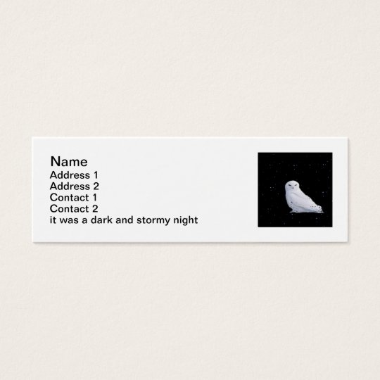 snowy owl bookmark mini business card