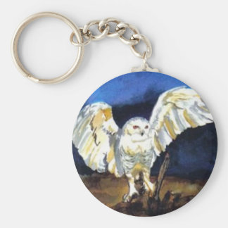 Snowy Owl by Paula Atwell Basic Round Button Key Ring