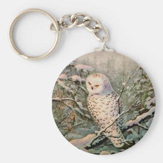 SNOWY OWL by SHARON SHARPE Basic Round Button Key Ring