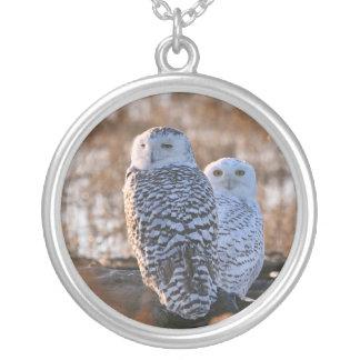 Snowy Owl Couple Pendants
