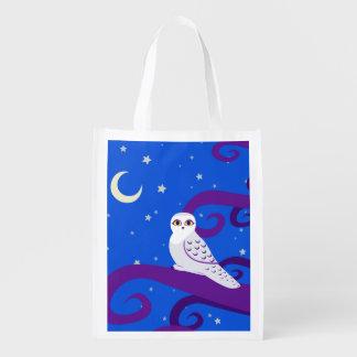 Snowy Owl Crescent Moon Night Forest Art