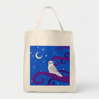 Snowy Owl Crescent Moon Night Forest Art Bags