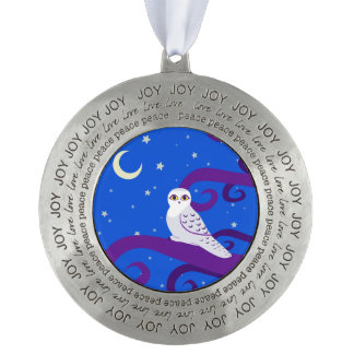 Snowy Owl Crescent Moon Night Forest Art Round Pewter Decoration