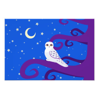 Snowy Owl Crescent Moon Night Forest Art Photo Print