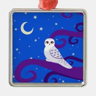 Snowy Owl Crescent Moon Night Forest Art Silver-Colored Square Decoration