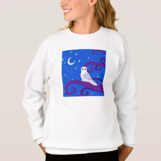 Snowy Owl Crescent Moon Night Forest Art Sweatshirt