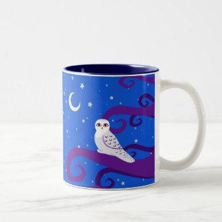 Snowy Owl Crescent Moon Night Forest Art Two-Tone Coffee Mug