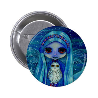Snowy Owl Fairy Button