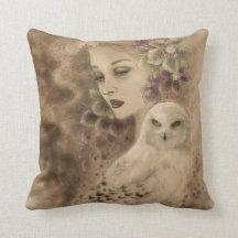 Snowy Owl Fantasy Illustration Pillow