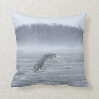 Snowy Owl Flying In Winter Cushion