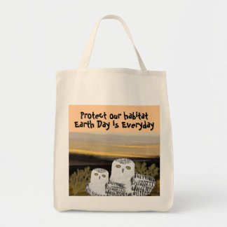 Snowy Owl Habitat Organic Grocery Tote Bags