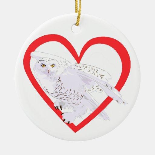 Snowy Owl Heart Ornaments