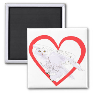 Snowy Owl Heart Magnets