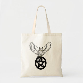 Snowy Owl Holding Pentacle Tote Bag
