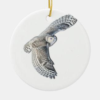 Snowy Owl in Flight Christmas Ornament