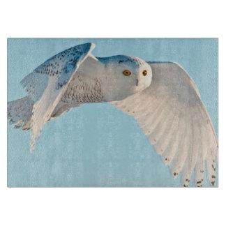 Snowy Owl in flight Cutting Board