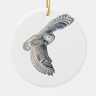 Snowy Owl in Flight Christmas Tree Ornaments
