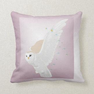 Snowy Owl in Flight on Lavender Background Cushion
