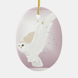 Snowy Owl in Flight on Lavender Background Ceramic Oval Decoration