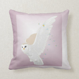 Snowy Owl in Flight on Lavender Background Throw Pillow