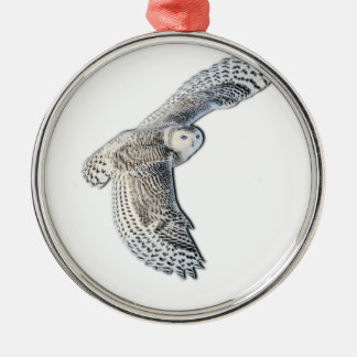 Snowy Owl in Flight Silver-Colored Round Decoration