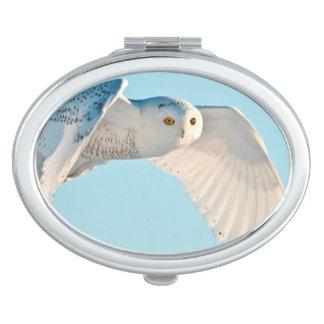 Snowy Owl in flight Travel Mirror