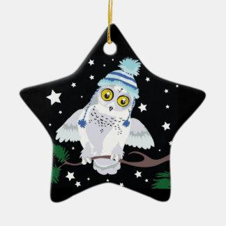 "Snowy Owl in Hat ""Hoot!""~ ornament"