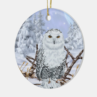 Snowy Owl in Snow Christmas Ornament