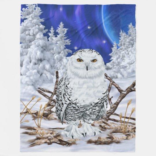 Snowy Owl in Snow Dark Blue Sky Fleece