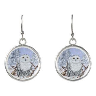Snowy Owl in Snow Earrings