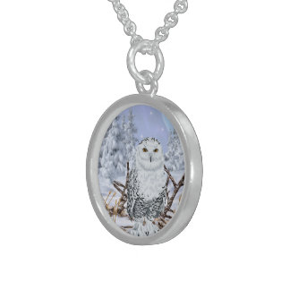 Snowy Owl in Snow Sterling Silver Necklace