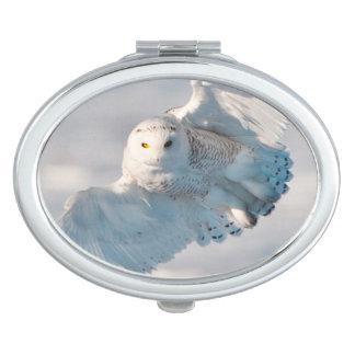 Snowy Owl landing on snow Compact Mirrors