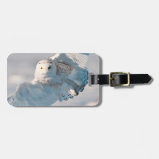 Snowy Owl landing on snow Luggage Tag