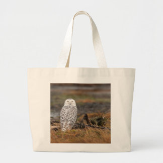 Snowy Owl on a log Jumbo Tote Bag