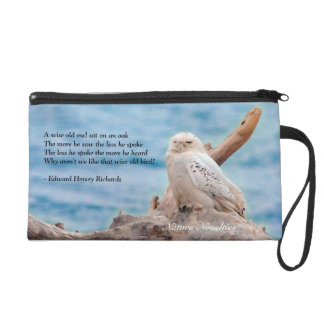 Snowy Owl on Log Wristlet Cosmetic Bag