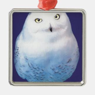 Snowy Owl Pattern Christmas Ornament