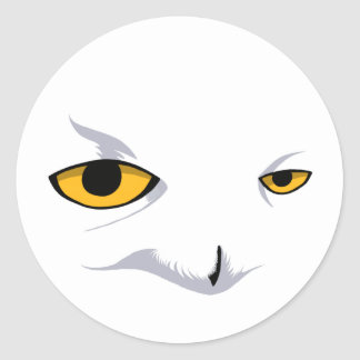 SNOWY OWL ROUND STICKER
