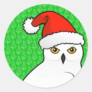 Snowy Owl Santa Round Stickers